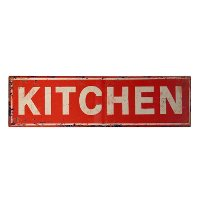 Antique Red Metal Kitchen Sign Horizontal