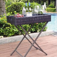 CO7206-BR Dark Brown Wicker Butler Tray - Palm Harbor