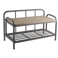Metal and Wood Industrial Bench