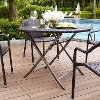 CO7205-BR Dark Brown Wicker Folding Table - Palm Harbor