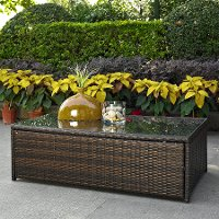 CO7201-BR Dark Brown Outdoor Wicker Glass Top Table - Palm Harbor