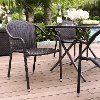 CO7109-BR Dark Brown Stackable Outdoor Wicker Chairs (Set of 4) - Palm Harbor
