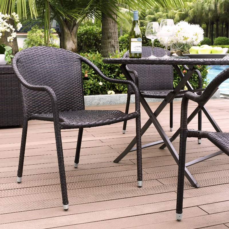 Dark Brown Stackable Outdoor Wicker Chairs Set Of 4 Palm Harbor Rc Willey Furniture