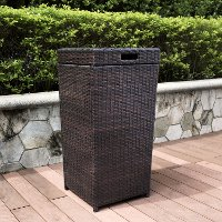 CO7301-BR  Dark Brown Wicker Outdoor Trash Bin - Palm Harbor