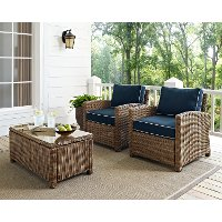 KO70026WB-NV Two Navy and Brown Wicker Patio Arm Chairs - Bradenton