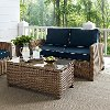KO70025WB-NV Navy and Brown Wicker Patio Furniture Loveseat and Table - Bradenton