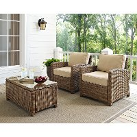 KO70026WB-SA Two Sand and Brown Wicker Patio Arm Chairs - Bradenton