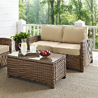KO70025WB-SA Sand and Brown Wicker Patio Furniture Loveseat and Table - Bradenton