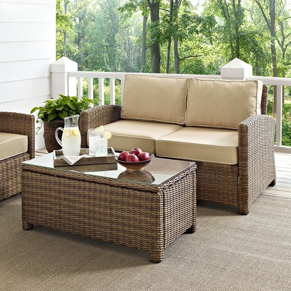 KO70025WB SA Sand And Brown Wicker Patio Furniture Loveseat And Table    Bradenton