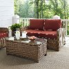 KO70025WB-SG Sangria and Brown Wicker Patio Furniture Loveseat and Table - Bradenton