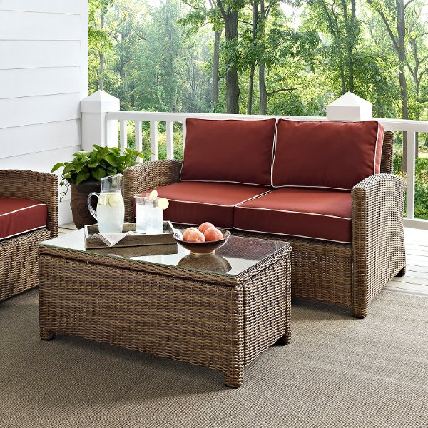 ... KO70025WB SG Sangria And Brown Wicker Patio Furniture Loveseat And Table    Bradenton