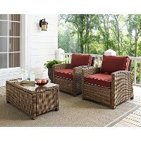 KO70026WB-SG Two Sangria and Brown Wicker Patio Arm Chairs - Bradenton