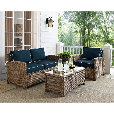 Exceptional KO70027WB NV Navy And Brown Wicker Patio Furniture Loveseat, Arm Chair, And  Table