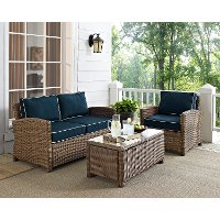 KO70027WB-NV Navy and Brown Wicker Patio Furniture Loveseat, Arm Chair, and Table - Bradenton