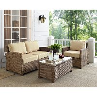 KO70027WB-SA Sand and Brown Wicker Patio Furniture Loveseat, Arm Chair, and Table - Bradenton