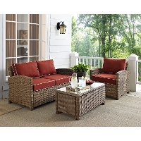 KO70027WB-SG Sangria and Brown Wicker Patio Furniture Loveseat, Arm Chair, and Table - Bradenton