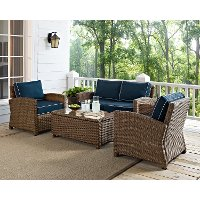 KO70024WB-NV Navy and Brown Wicker Patio Furniture Loveseat, Arm Chairs, and Table - Bradenton