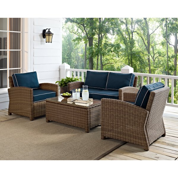 ... KO70024WB NV Navy And Brown Wicker Patio Furniture Loveseat, Arm  Chairs, And Table