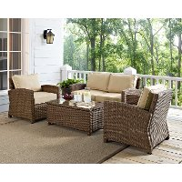 KO70024WB-SA Sand and Brown Wicker Patio Furniture Loveseat, Arm Chairs, and Table - Bradenton