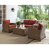KO70024WB-SG Sangria and Brown Wicker Patio Furniture Loveseat, Arm Chairs, and Table - Bradenton