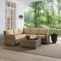 KO70019WB-SA Sand and Brown Wicker Patio Furniture Set - Bradenton