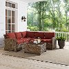 KO70019WB-SG Sangria and Brown Wicker Patio Sectional and Table - Bradenton