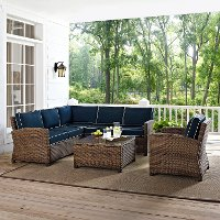 KO70021WB-NV Navy and Brown Wicker Patio Sectional and Table - Bradenton