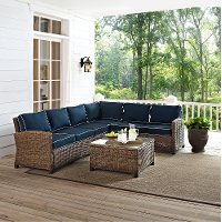 KO70020WB-NV Navy and Brown Wicker Patio Sectional and Table - Bradenton