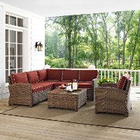 KO70021WB-SG Sangria and Brown Wicker Patio Sectional, Arm Chair and Table - Bradenton