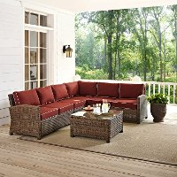 KO70020WB-SG Sangria and Brown Wicker Patio Large Sectional and Table - Bradenton