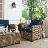 KO70023WB-NV Navy and Brown Wicker Patio Arm Chair - Bradenton