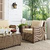 KO70023WB-SA Sand and Brown Wicker Patio Arm Chair - Bradenton