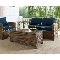 CO7208-WB Light Brown Outdoor Wicker Glass Top Table - Bradenton