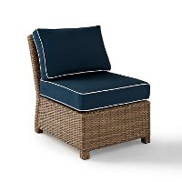 KO70017WB-NV Navy Brown Wicker Patio Sectional Center Chair - Bradenton