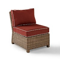KO70017WB-SG Sangria and Brown Wicker Patio Sectional Center Chair - Bradenton