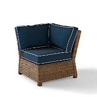 KO70018WB-NV Navy and Brown Wicker Patio Sectional Corner Chair - Bradenton