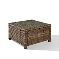 CO7207-WB Light Brown Outdoor Wicker Square Glass Top Table - Bradenton