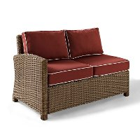 KO70016WB-SG Sangria and Brown Wicker Patio Furniture Left Corner Loveseat - Bradenton