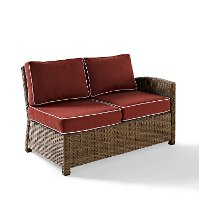 KO70015WB-SG Sangria and Brown Wicker Patio Furniture Right Corner Loveseat - Bradenton