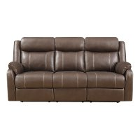 Valor Chocolate Brown Dual Reclining Sofa - Domino