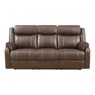 Valor Chocolate Brown Dual Reclining Sofa Domino