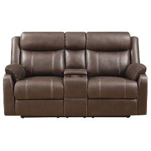 valor chocolate brown reclining loveseat domino - Loveseat Recliners