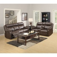 Valor Chocolate Brown Reclining Living Room Set - Domino