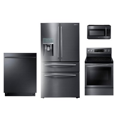 Kit Samsung Black Stainless Steel 4 Piece Kitchen Appliance Package