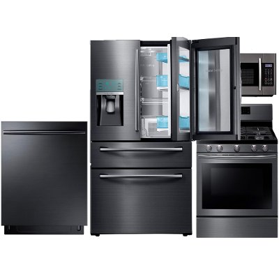 High Quality KIT Samsung 4 Piece Kitchen Appliance Package   Black Stainless Steel