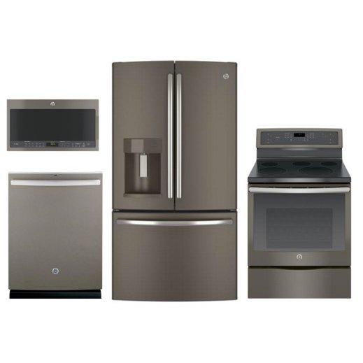KIT GE 4 Piece Electric Kitchen Appliance Package   Slate