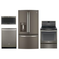 KIT GE 4 Piece Electric Kitchen Appliance Package with Electric Range - Slate