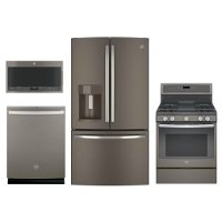 KIT GE 4 Piece Gas Kitchen Appliance Package with 27.8 cu. ft. French Door Refrigerator - Slate