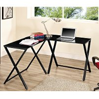 Black Glass L-Shaped Computer Desk