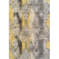 8 x 11 Large Yellow and Gray Area Rug - Modern Grays